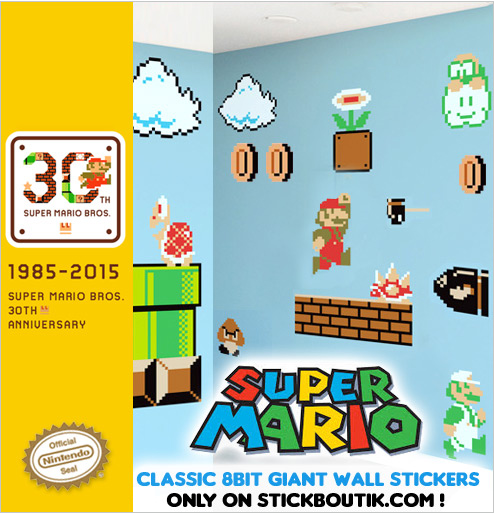 Exclusive Nintendo Super Mario Bros Classic Retro Wall stickers & wall Decals