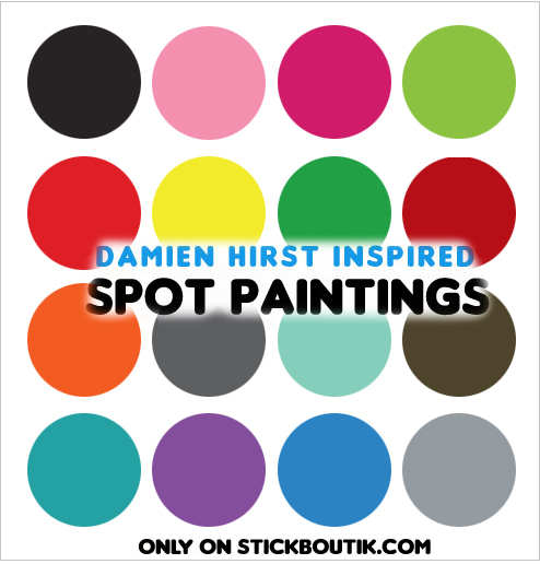 Exclusive Damien Hirst inspired Spot Paintings Wall stickers & wall Decals