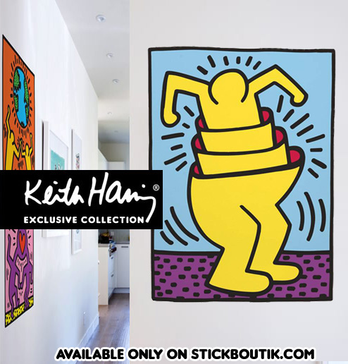 Keith Haring Nesting Man Wall Stickers - Exclusive & Official Keith Haring PopArt wall Stickers