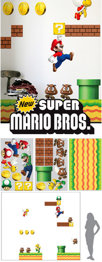 stickers super mario bros la collection de stickers muraux g ants officiels nintendo pour cr er. Black Bedroom Furniture Sets. Home Design Ideas
