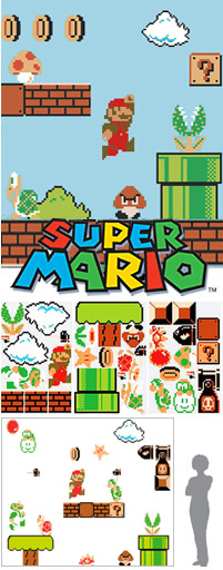 Stickers Super Mario Bros version NES - Stickers muraux Super Mario Bros. Nintendo exclusifs en import US
