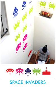 Stickers muraux - Collection Space Invaders + glaçons invaders