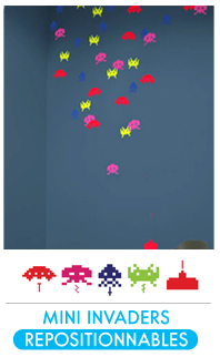 Stickers muraux - Collection Mini Space Invaders + glaçons invaders