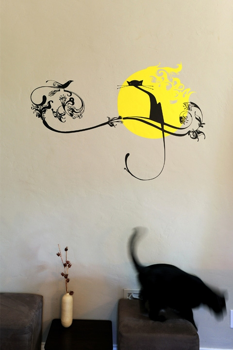 Sticker mural exclusif Cat Moonlight par Upper Playground