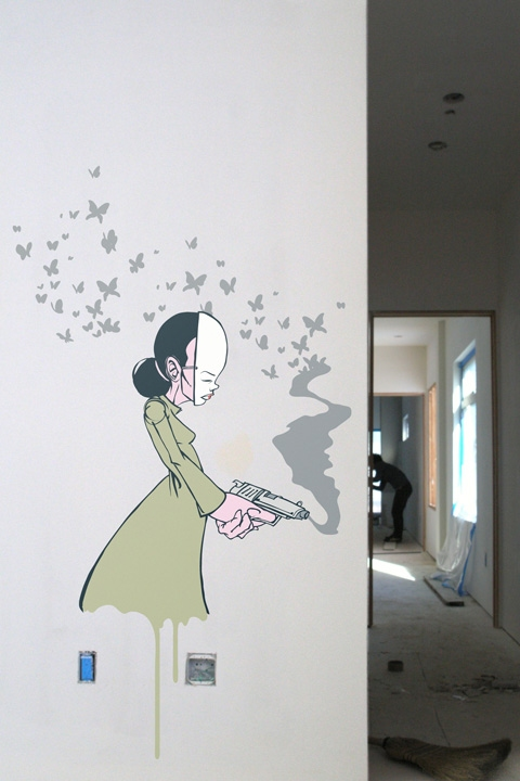 Sticker mural exclusif Butterfly Gun par Sam Flores