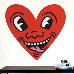 Sticker muraux Heart Face par Keith Haring - Stickers NOUVEAUTES