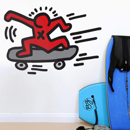 Urban & PopArt Wall Stickers Skater Wall Sticker by  Keith Haring - Original and exclusive Urban Art, Street Art & PopArt Wall Stickers on Stickboutik.com