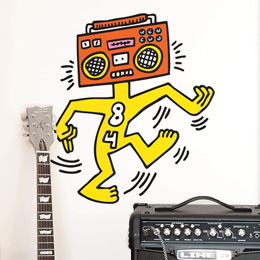 Sticker muraux Mr Boombox par Keith Haring - Stickers NOUVEAUTES