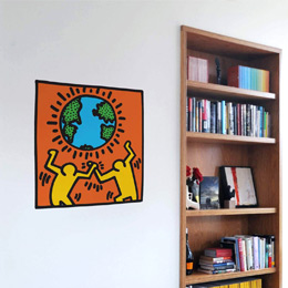 Urban & PopArt Wall Stickers Globe Wall Sticker by  Keith Haring - Original and exclusive Urban Art, Street Art & PopArt Wall Stickers on Stickboutik.com