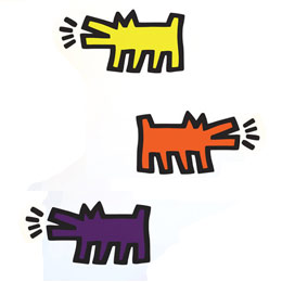 Urban & PopArt Wall Stickers Barking Dogs Colour Wall Stickers by Keith Haring - Original and exclusive Urban Art, Street Art & PopArt Wall Stickers on Stickboutik.com