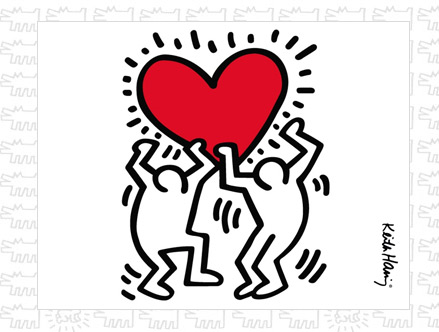 Dancing Heart Giant Wall Sticker  Keith Haring: Sticker / Wall Decal Outline