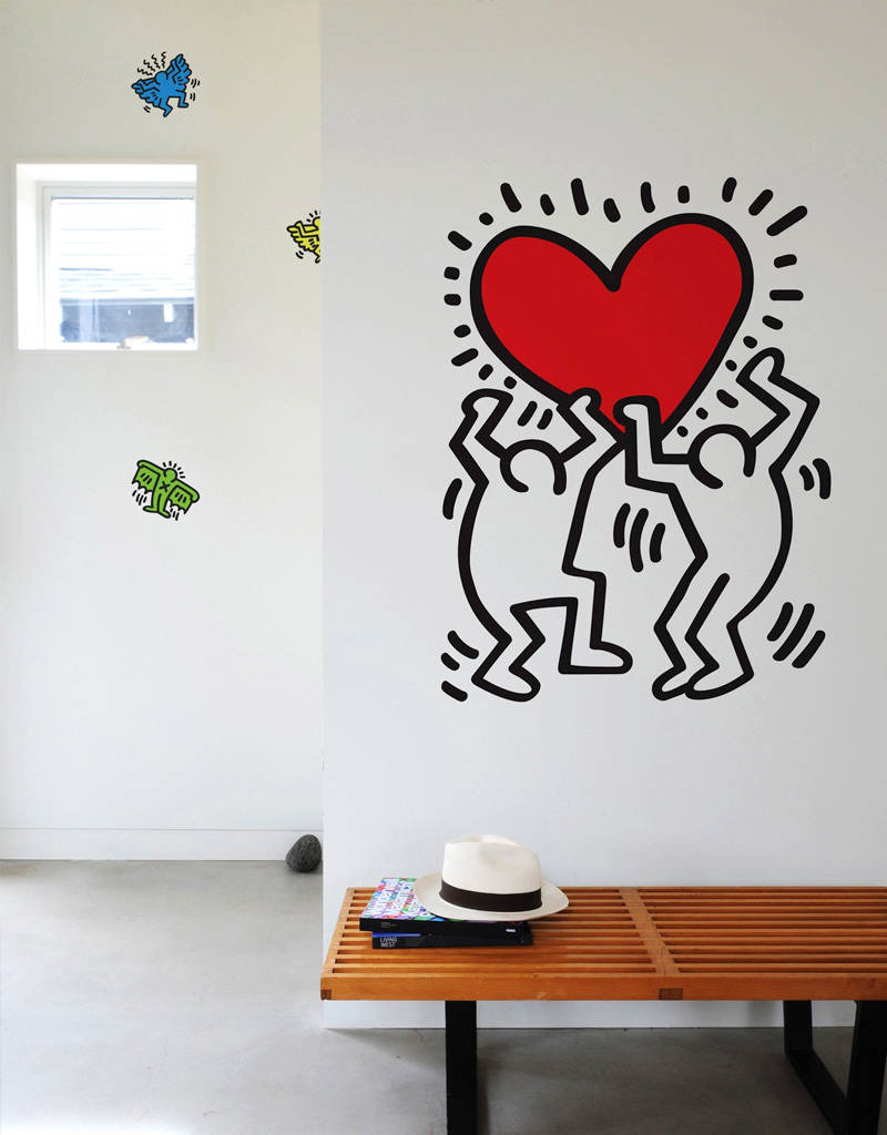 sticker dancing heart keith haring stickers muraux exclusifs. Black Bedroom Furniture Sets. Home Design Ideas