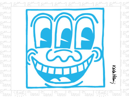 Package content: Untitled Face Blue Giant Wall Sticker by  Keith Haring - Only Stickboutik.com
