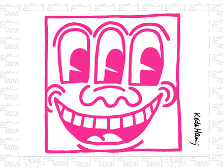 Package content: Untitled Face Magenta Giant Wall Sticker by  Keith Haring - Only Stickboutik.com