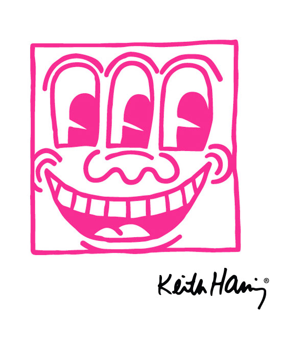 Keith Haring Wall Decals: Untitled Face Magenta Giant Wall Sticker only on Stickboutik.com - 2/3
