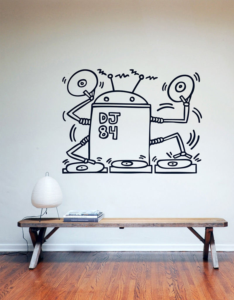 Keith Haring Wall Decals: DJ Robot 1984 Wall Sticker only on Stickboutik.com - 1/4