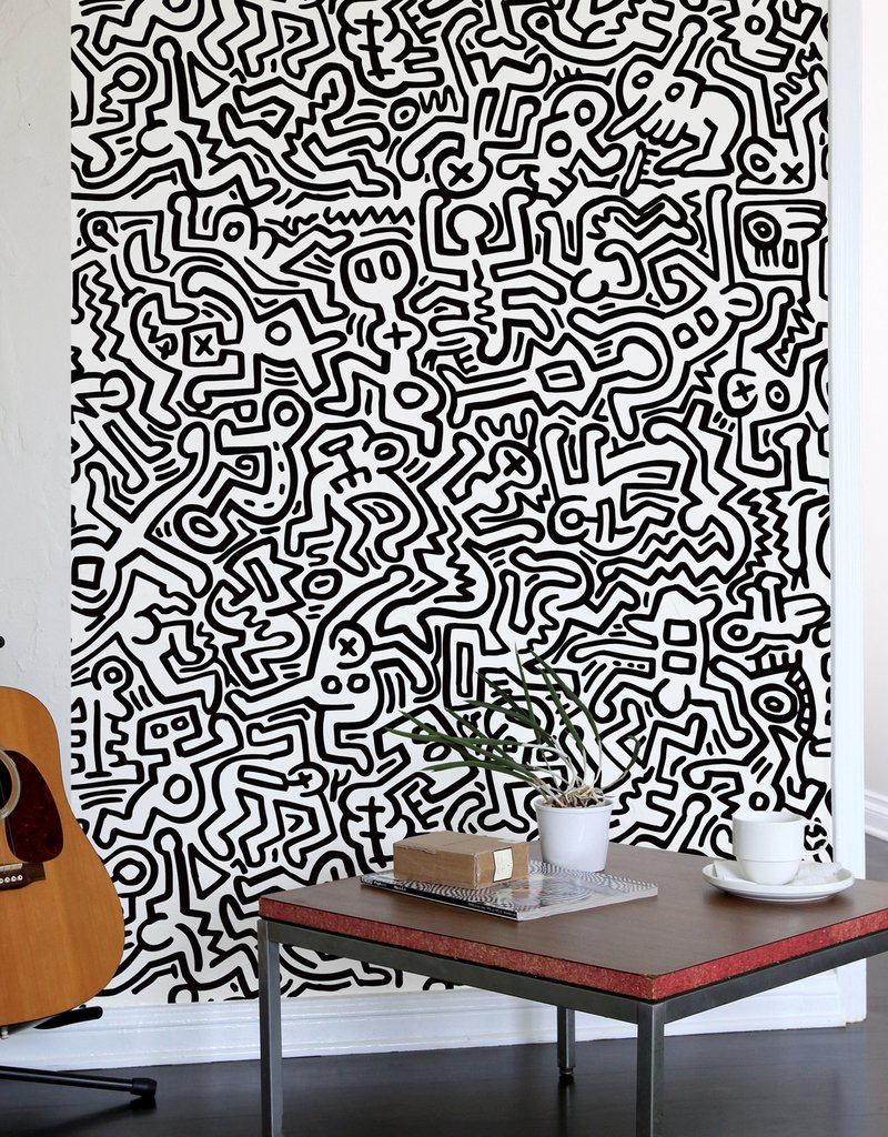 fresque murale movement noir keith haring stickers muraux exclusifs. Black Bedroom Furniture Sets. Home Design Ideas