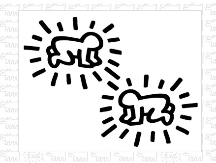 Radiant Baby Dual Wall Stickers Keith Haring: Sticker / Wall Decal Outline Part 90