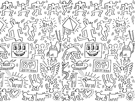 Package content: Symbols - Black Giant Wall Murals by  Keith Haring - Only Stickboutik.com