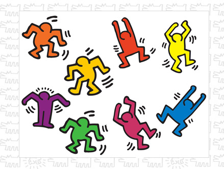 Contenu du pack: Stickers muraux Dancers Keith Haring