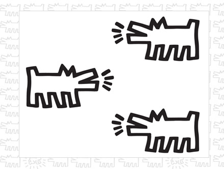 Barking Dogs Wall Stickers Keith Haring: Sticker / Wall Decal Outline