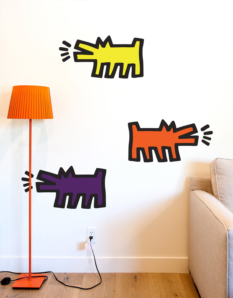 stickers muraux barking dogs keith haring stickers muraux exclusifs. Black Bedroom Furniture Sets. Home Design Ideas