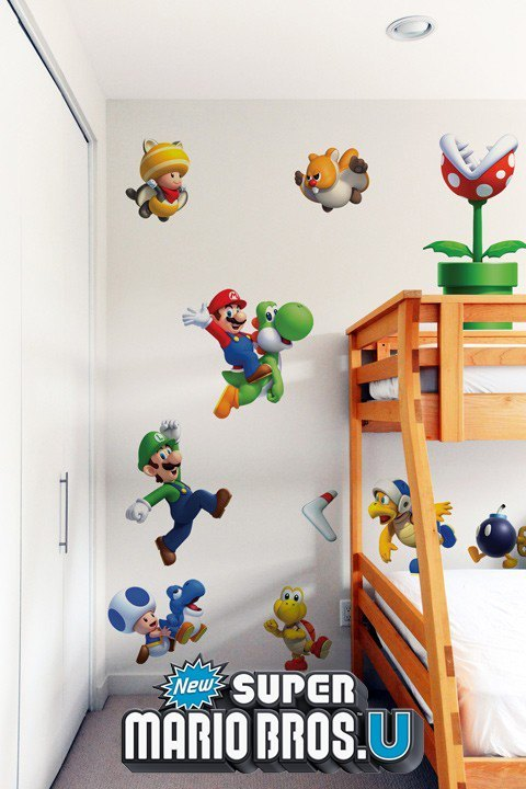 stickers mario bros sticker mural g ant super mario u officiel nintendo pour une chambre au. Black Bedroom Furniture Sets. Home Design Ideas