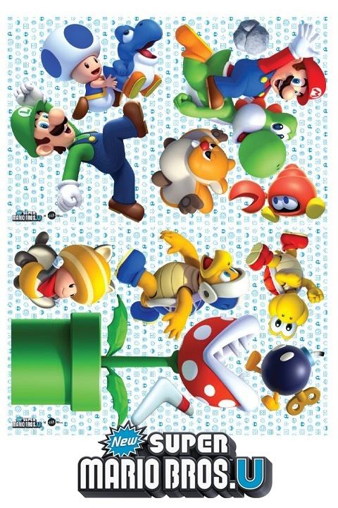 Stickers Mario Bros: Sticker mural géant Super Mario U officiel Nintendo pour une Chambre au décor original! - 5/11