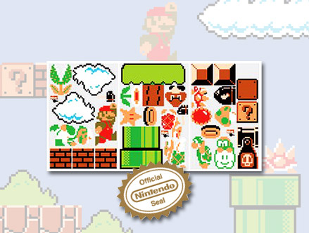 Package content: Super Mario Bros. x30 Giant Wall Stickers by Nintendo - Only Stickboutik.com
