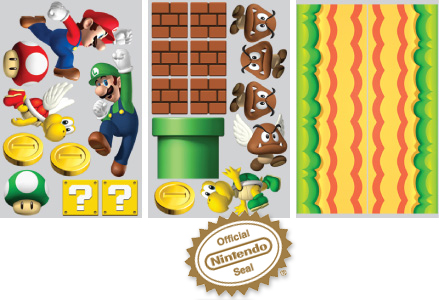 Contenu du pack: Stickers NEW Super Mario Bros - Stickers géants Nintendo