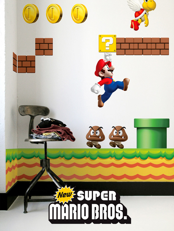 Stickers NEW Super Mario Bros: Stickers muraux Géants SuperMario  pour déco Geek Officielle - 1/8