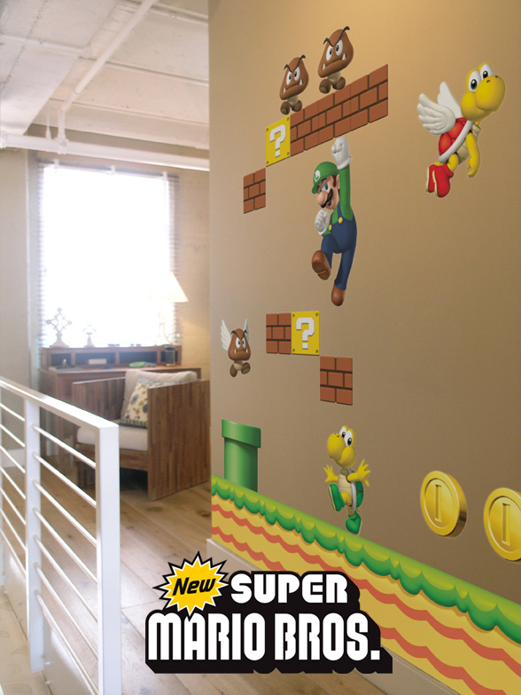 Stickers NEW Super Mario Bros: Stickers muraux Géants SuperMario  pour déco Geek Officielle - 2/8