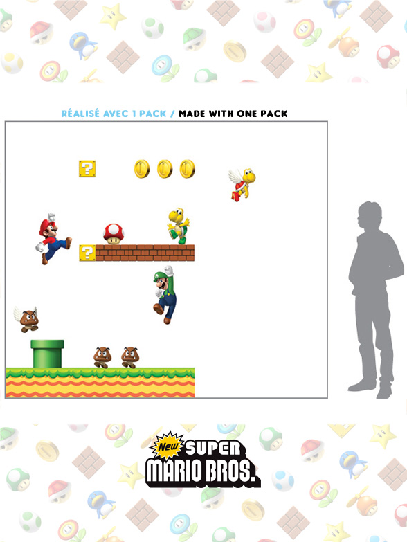 Stickers NEW Super Mario Bros: Stickers muraux Géants SuperMario  pour déco Geek Officielle - 3/8