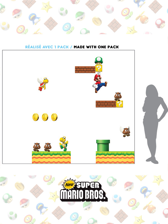 Stickers NEW Super Mario Bros: Stickers muraux Géants SuperMario  pour déco Geek Officielle - 4/8