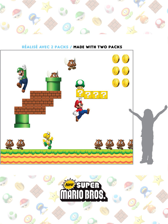 Stickers NEW Super Mario Bros: Stickers muraux Géants SuperMario  pour déco Geek Officielle - 5/8