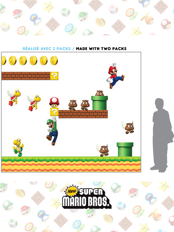 Stickers NEW Super Mario Bros: Stickers muraux Géants SuperMario  pour déco Geek Officielle - 6/8