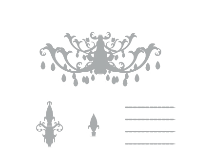 Chandelier Wall Sticker : Sticker / Wall Decal Outline