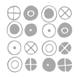 Circles - Small Graphite Stickers Charles & Ray EAMES: Sticker / Wall Decal Outline
