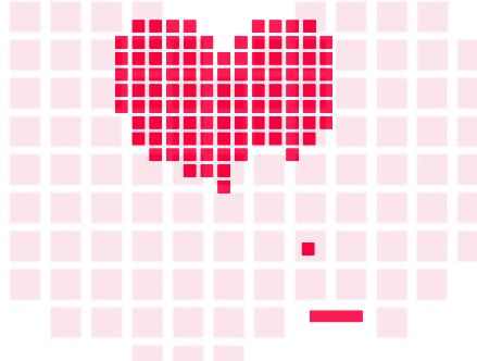 Heart BreakOut - Retrogaming Giant Wall Sticker  HybridDesign: Sticker / Wall Decal Outline
