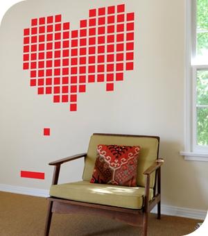 stickers casse brique coeur hybriddesign. Black Bedroom Furniture Sets. Home Design Ideas
