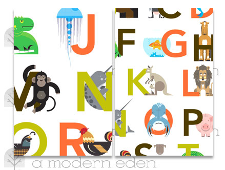 Package content: Animal Alphabet - Kids Wall Stickers by  A Modern Eden - Only Stickboutik.com