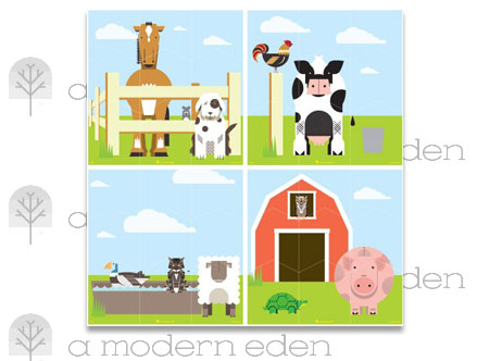 Farm Wall Puzzle - Kids Wall Stickers   A Modern Eden: Sticker / Wall Decal Outline