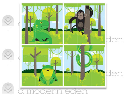 Jungle Wall Puzzle - Kids Wall Stickers   A Modern Eden: Sticker / Wall Decal Outline