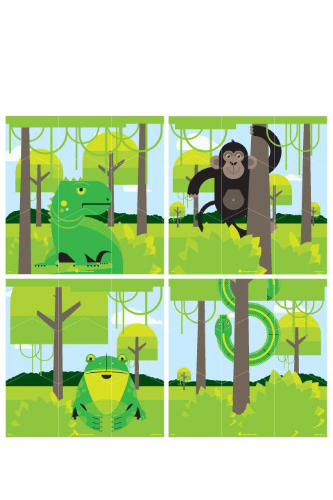 Jungle Wall Puzzle - Kids Wall Stickers   A Modern Eden: Wall Sticker & Wall Decal Main Image