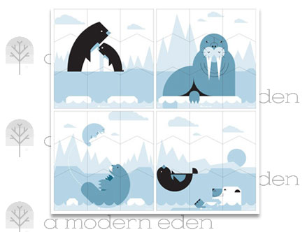 Polar Wall Puzzle - Kids Wall Stickers  A Modern Eden: Sticker / Wall Decal Outline