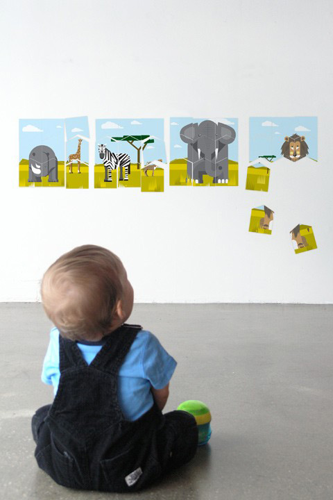 A Modern Eden - Safari Wall Puzzle - Kids Wall Stickers & Wall Decals only on Stickboutik.com - 1/4