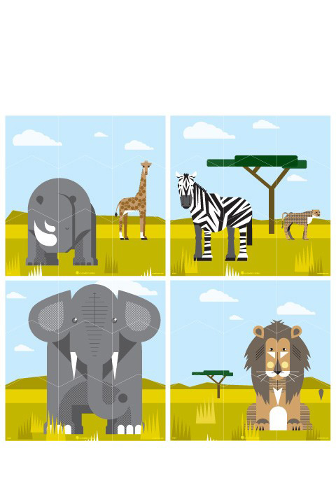 A Modern Eden - Safari Wall Puzzle - Kids Wall Stickers & Wall Decals only on Stickboutik.com - 2/4