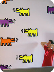 Stickers muraux Dogs XL couleur par Keith Haring