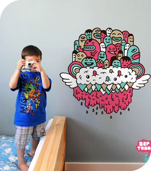 Stickers muraux Flying Head par Zeptonn