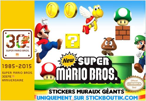 Stickers Muraux NEW Super Mario Bros - Stickers Super Mario Geants uniquement sur Stickboutik.com